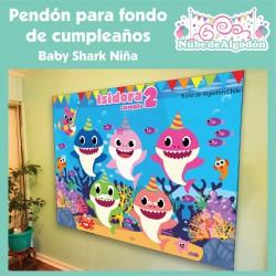 Pendón Baby Shark Niña...